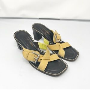 Donald J Pliner Gold Leather Sandals Mules Sz 6